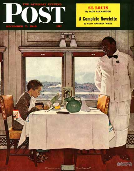 Norman Rockwell Saturday Evening Post NY Central Diner 1946_12_07   400 Norman Rockwell Magazine Covers 1913-1963