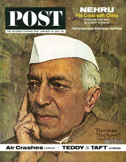 Norman Rockwell Saturday Evening Post Nehru 1963_01_19 | 400 Norman Rockwell Magazine Covers 1913-1963