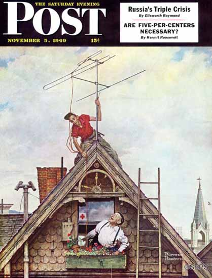 Norman Rockwell Saturday Evening Post New TV Set 1949_11_05 | The Saturday Evening Post Graphic Art Covers 1931-1969