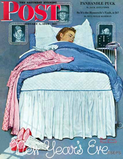 Norman Rockwell Saturday Evening Post New Years Eve 1944_01_01 | The Saturday Evening Post Graphic Art Covers 1931-1969