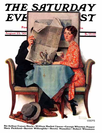 Norman Rockwell Saturday Evening Post Newspaper Wall 1930_08_23 | The Saturday Evening Post Graphic Art Covers 1892-1930