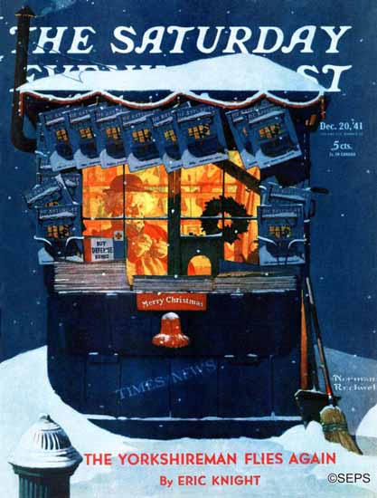 Norman Rockwell Saturday Evening Post Newsstand in Snow 1941_12_20 | The Saturday Evening Post Graphic Art Covers 1931-1969