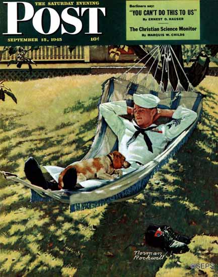 Norman Rockwell Saturday Evening Post On Leave 1945_09_15 | The Saturday Evening Post Graphic Art Covers 1931-1969