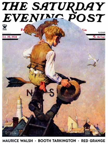Norman Rockwell Saturday Evening Post On Top of the World 1934_10_20 | The Saturday Evening Post Graphic Art Covers 1931-1969