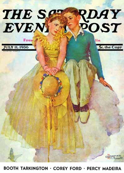 Norman Rockwell Saturday Evening Post On Top of the World 1936_07_11 | The Saturday Evening Post Graphic Art Covers 1931-1969