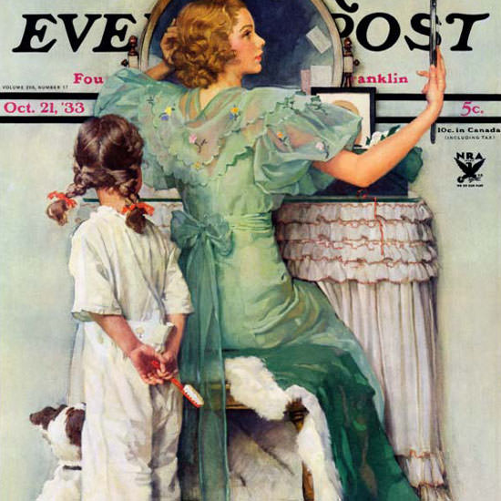 Norman Rockwell Saturday Evening Post Out 1933_10_21 Copyright crop | Best of Vintage Cover Art 1900-1970