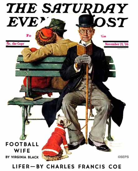 Norman Rockwell Saturday Evening Post Overheard Lovers 1936_11_21 | The Saturday Evening Post Graphic Art Covers 1931-1969