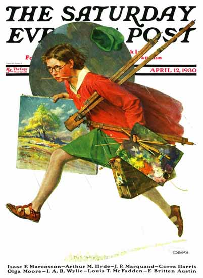 Norman Rockwell Saturday Evening Post Painter in the Rain 1930_04_12 | 400 Norman Rockwell Magazine Covers 1913-1963