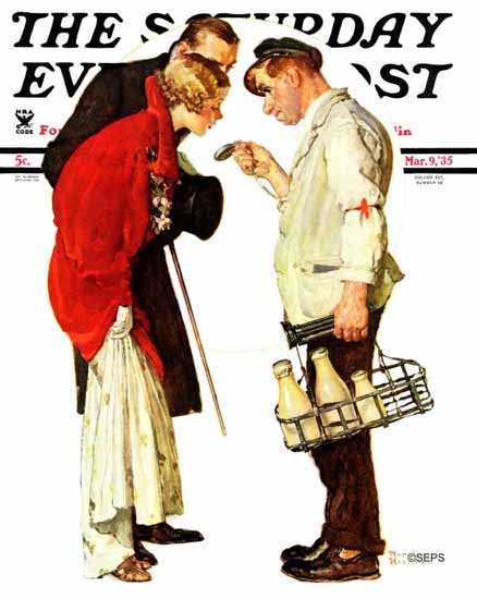 Norman Rockwell Saturday Evening Post Partygoers 1935_03_09 | The Saturday Evening Post Graphic Art Covers 1931-1969