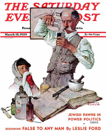 Norman Rockwell Saturday Evening Post Pharmacist 1939_03_18 | 400 Norman Rockwell Magazine Covers 1913-1963