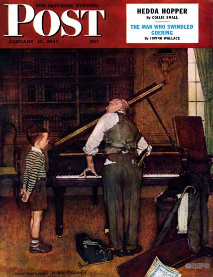 Norman Rockwell Saturday Evening Post Piano Tuner 1947_01_11 | 400 Norman Rockwell Magazine Covers 1913-1963