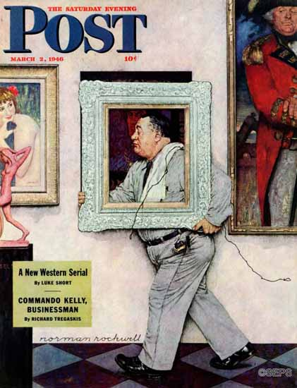 Norman Rockwell Saturday Evening Post Picture Hanger 1946_03_02 | The Saturday Evening Post Graphic Art Covers 1931-1969