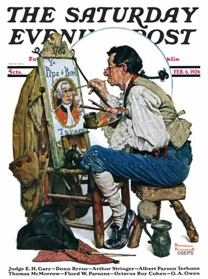 Norman Rockwell Saturday Evening Post Pipe N Bowl Tavern 1926_02_06 | 400 Norman Rockwell Magazine Covers 1913-1963
