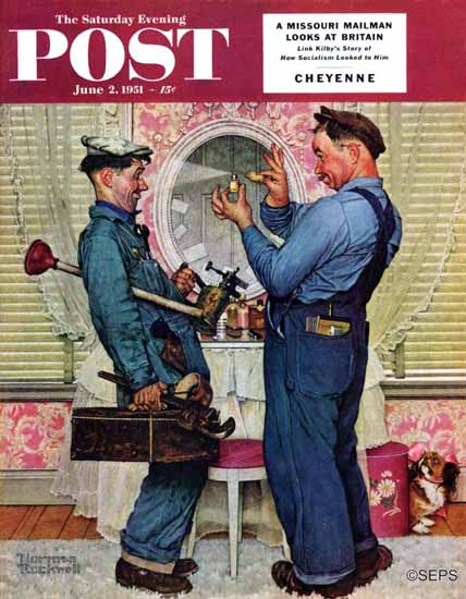 Norman Rockwell Saturday Evening Post Plumbers 1951_06_02 | The Saturday Evening Post Graphic Art Covers 1931-1969