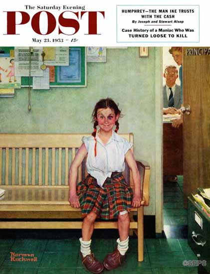 Norman Rockwell Saturday Evening Post Principals Office 1953_05_23 | The Saturday Evening Post Graphic Art Covers 1931-1969