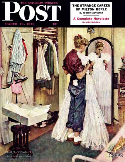 Norman Rockwell Saturday Evening Post Prom Dress 1949_03_19 | The Saturday Evening Post Graphic Art Covers 1931-1969