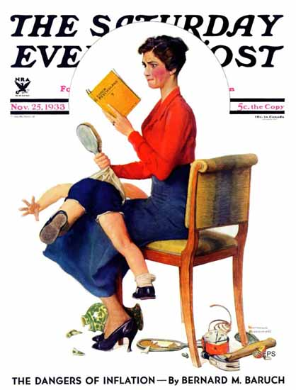 Norman Rockwell Saturday Evening Post Psychology or 1933_11_25 | The Saturday Evening Post Graphic Art Covers 1931-1969