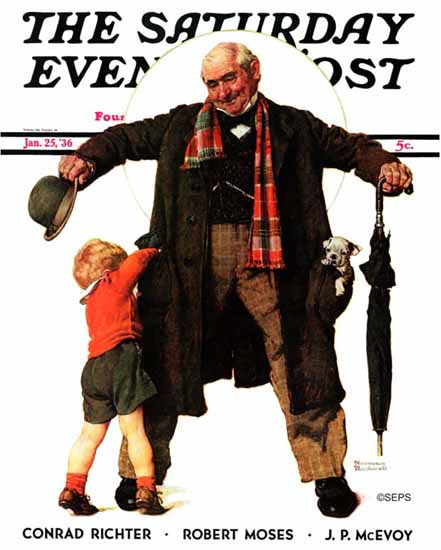 Norman Rockwell Saturday Evening Post Puppy in the Pocket 1936_01_25 | The Saturday Evening Post Graphic Art Covers 1931-1969