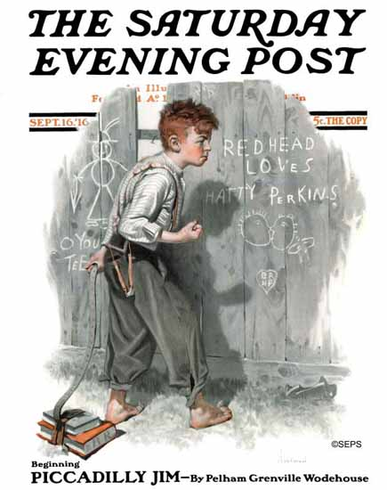Norman Rockwell Saturday Evening Post Red Head Loves HP 1916_09_16 | 400 Norman Rockwell Magazine Covers 1913-1963