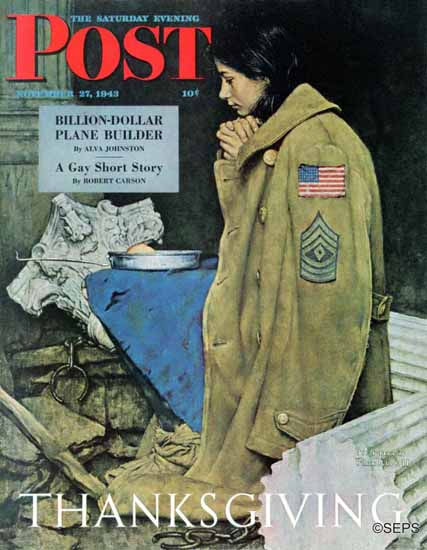 Norman Rockwell Saturday Evening Post Refugee Thanksgiving 1943_11_27 | 400 Norman Rockwell Magazine Covers 1913-1963
