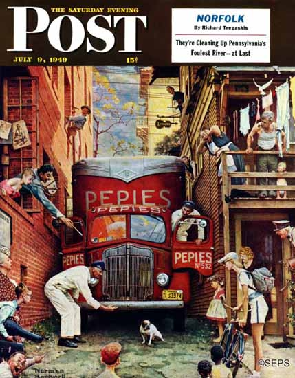 Norman Rockwell Saturday Evening Post Road Block 1949_07_09   400 Norman Rockwell Magazine Covers 1913-1963