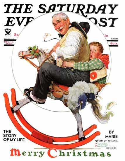 Norman Rockwell Saturday Evening Post Rocking Horse 1933_12_16 | 400 Norman Rockwell Magazine Covers 1913-1963