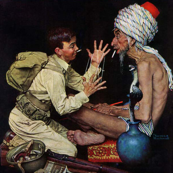 Norman Rockwell Saturday Evening Post Rope1943_06_26 Copyright crop | Best of Vintage Cover Art 1900-1970