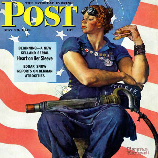Norman Rockwell Saturday Evening Post Rosie 1943_05_29 Copyright crop | Best of Vintage Cover Art 1900-1970