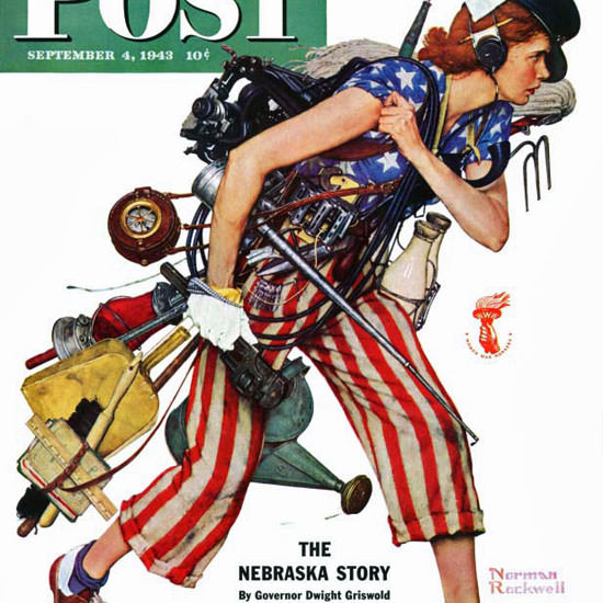 Norman Rockwell Saturday Evening Post Rosie 1943_09_04 Copyright crop | Best of Vintage Cover Art 1900-1970