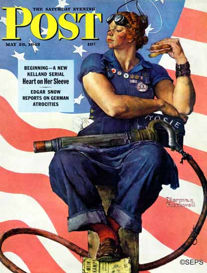 Norman Rockwell Saturday Evening Post Rosie the Riveter 1943_05_29 | 400 Norman Rockwell Magazine Covers 1913-1963