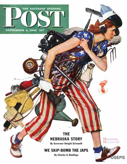 Norman Rockwell Saturday Evening Post Rosie to the Rescue 1943_09_04   400 Norman Rockwell Magazine Covers 1913-1963