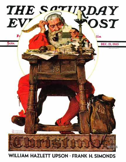 Norman Rockwell Saturday Evening Post Santa at His Desk 1935_12_21 | 400 Norman Rockwell Magazine Covers 1913-1963
