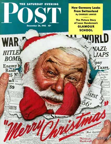 Norman Rockwell Saturday Evening Post Santa in the News 1942_12_26 | The Saturday Evening Post Graphic Art Covers 1931-1969
