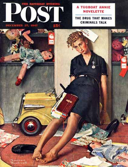 Norman Rockwell Saturday Evening Post Santas Helper 1947_12_27 | 400 Norman Rockwell Magazine Covers 1913-1963