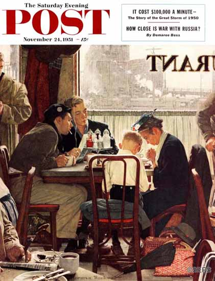 Norman Rockwell Saturday Evening Post Saying Grace 1951_11_24 | The Saturday Evening Post Graphic Art Covers 1931-1969