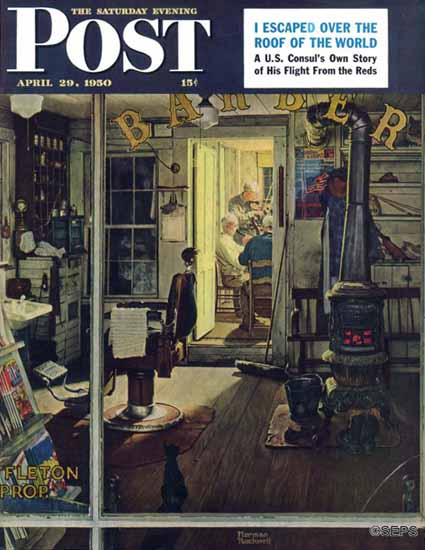 Norman Rockwell Saturday Evening Post Shuffletons Barber 1950_04_29 | The Saturday Evening Post Graphic Art Covers 1931-1969
