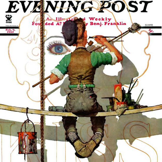 Norman Rockwell Saturday Evening Post Sign 1935_02_09 Copyright crop | Best of 1930s Ad and Cover Art