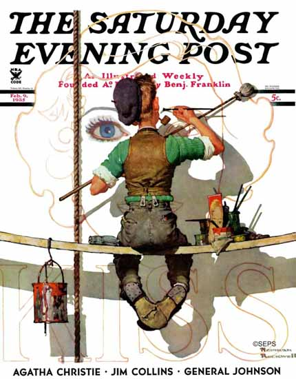 Norman Rockwell Saturday Evening Post Sign Painter 1935_02_09 | 400 Norman Rockwell Magazine Covers 1913-1963