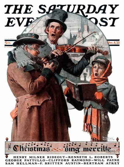 Norman Rockwell Saturday Evening Post Sing Merrilie 1923_12_08 | 400 Norman Rockwell Magazine Covers 1913-1963