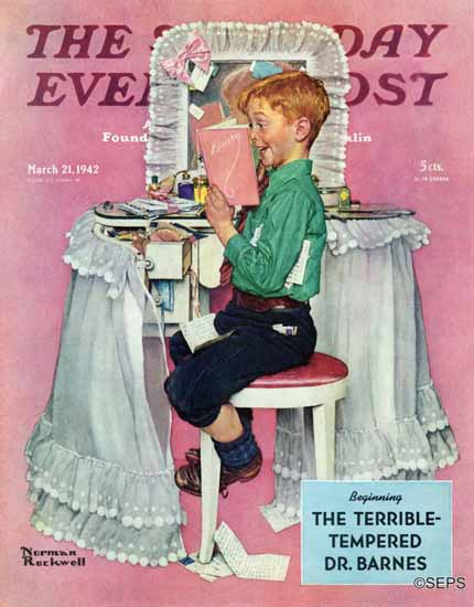 Norman Rockwell Saturday Evening Post Sisters Diary 1942_03_21 | 400 Norman Rockwell Magazine Covers 1913-1963