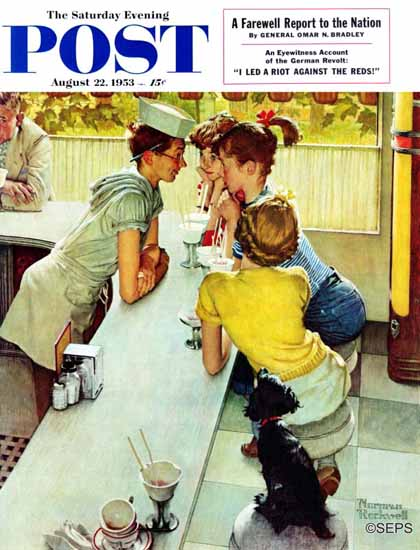 Norman Rockwell Saturday Evening Post Soda Jerk 1953_08_22 | The Saturday Evening Post Graphic Art Covers 1931-1969