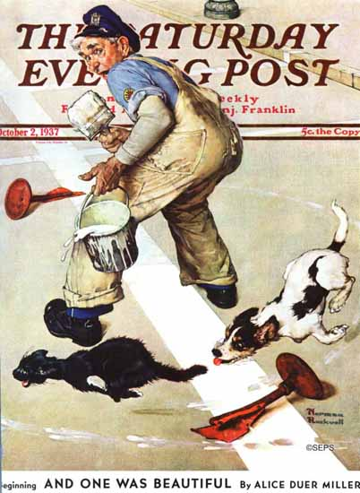 Norman Rockwell Saturday Evening Post Spilled Paint 1937_10_02 | The Saturday Evening Post Graphic Art Covers 1931-1969