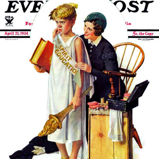Norman Rockwell Saturday Evening Post Spirit 1934_04_21 Copyright crop | Best of 1930s Ad and Cover Art