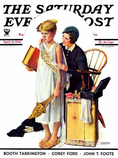 Norman Rockwell Saturday Evening Post Spirit of Education 1934_04_21 | The Saturday Evening Post Graphic Art Covers 1931-1969