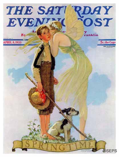 Norman Rockwell Saturday Evening Post Springtime 1933_04_08 | The Saturday Evening Post Graphic Art Covers 1931-1969