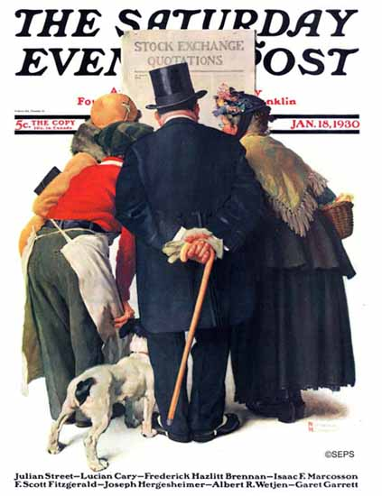 Norman Rockwell Saturday Evening Post Stock Exchange 1930_01_18 | 400 Norman Rockwell Magazine Covers 1913-1963