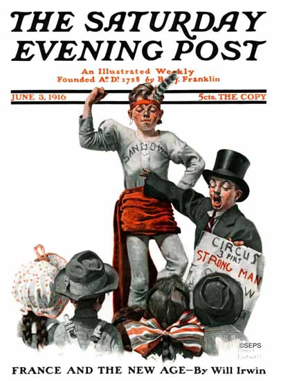 Norman Rockwell Saturday Evening Post Strong Man 1916_06_03 | 400 Norman Rockwell Magazine Covers 1913-1963