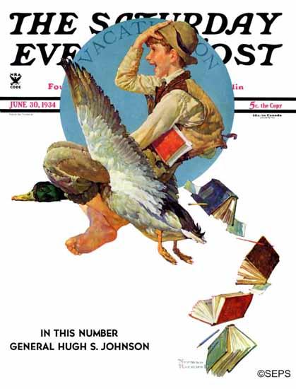 Norman Rockwell Saturday Evening Post Summer Vacation 1934_06_30 | The Saturday Evening Post Graphic Art Covers 1931-1969