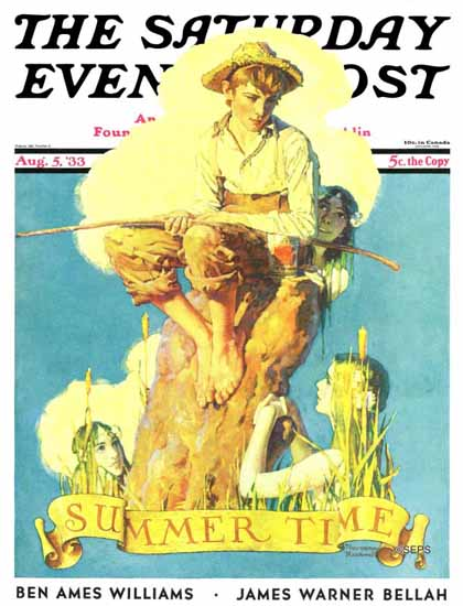 Norman Rockwell Saturday Evening Post Summertime 1933_08_05 | The Saturday Evening Post Graphic Art Covers 1931-1969