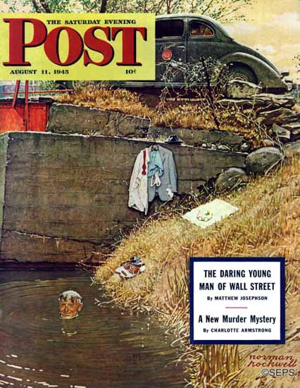 Norman Rockwell Saturday Evening Post Swimming Hole 1945_08_11 | The Saturday Evening Post Graphic Art Covers 1931-1969